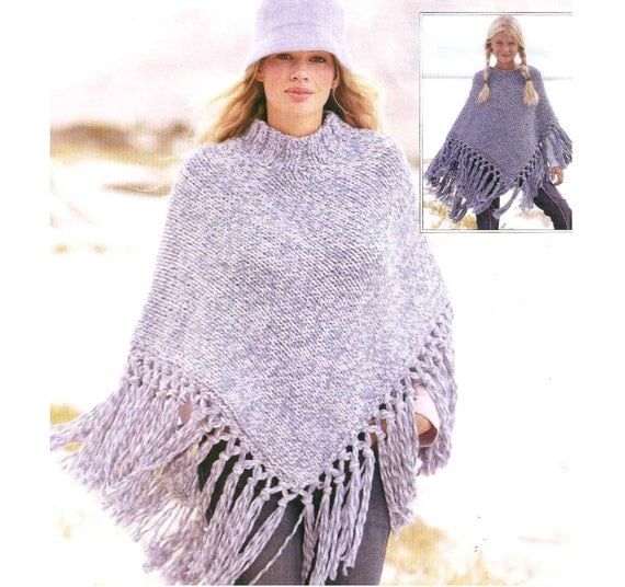 Knit In The Round Poncho Pattern : knit womans poncho round neck or stand up neck plain front