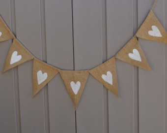 Hearts Banner, Love Bunting, Valentines Day Decor, Wedding Sign, Just Married, Wedding Photo Prop, Engagement Prop, Rustic, Farmhouse