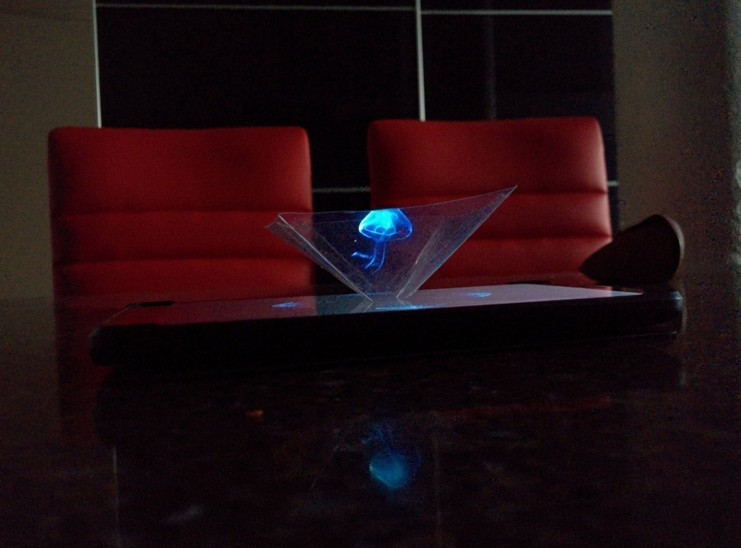 3d iphone holographic projector by cellphonehologram on etsy for Projector that works with iphone