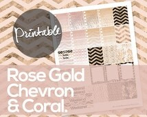 50% off! Erin Condren Printable Life Planner Sticker Sheet -  Rose Gold Chevron & Coral Ombre To Do Lists and Weekend Pink and Peach PDF