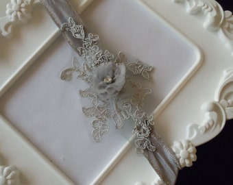 Grey lace garter, bridal garter, wedding accessories, bridesmaid garter