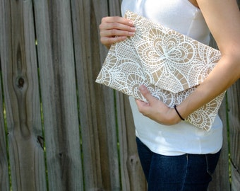 Burlap w/ Lace Print Envelope Clutch