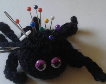 Spider Pin Cushion, Novelty Pincushion, Crochet Spider, Sewing Accessory, Stocking Filler, Sewing Gift, Gift for seamstress,