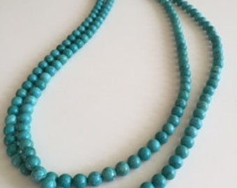 Long Turquoise double strand necklace