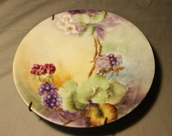 Vintage Hand Painted Decorative Plate ~ Grapes