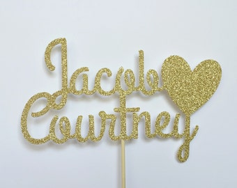 Personalized Name Cake Topper, Birthday Cake Topper, Glitter Cake Topper, Wedding Cake Topper
