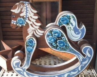 Vintage Chic Style Decorative Accent Wood Rocking Horse Nursery Decoration