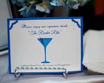 Signature Drink Sign, Bar Sign, Wedding Decor, Blue and White Wedding, Handmade Wedding, Custom Wedding Sign