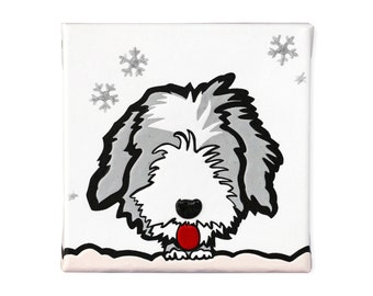 """Painting on canvas """" Bearded Collie puppy"""""""