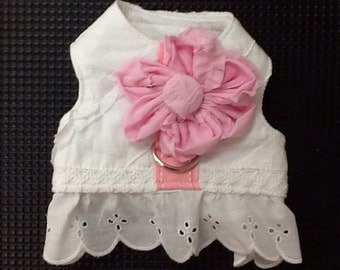 Dog Harness Dress White Eyelet with Pink Flower
