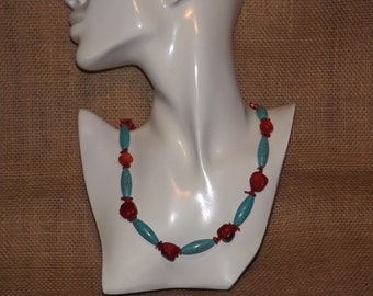 Red Coral and Turquoise Howlite Necklace