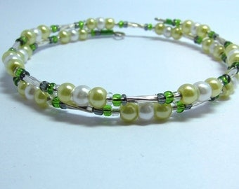 Faux pearl and bead wrap bracelet