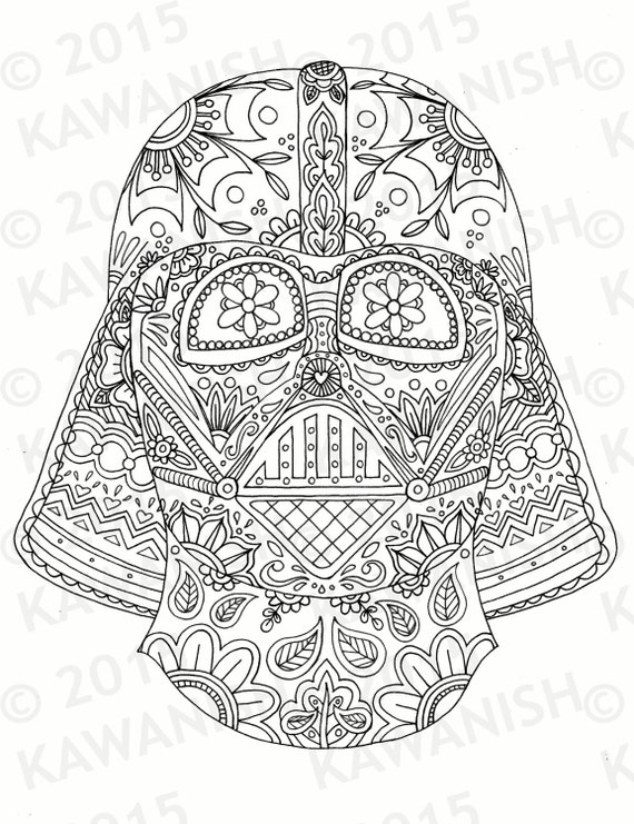 day of the dead darth vader mask adult coloring page gift wall art star wars - Star Wars Coloring Pages For Adults