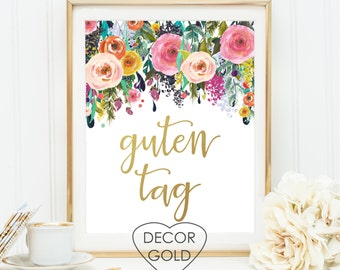 guten tag german hello saying quote gold foil print sign home gift gold office decor gold home decor - greeting birthday gift typography art