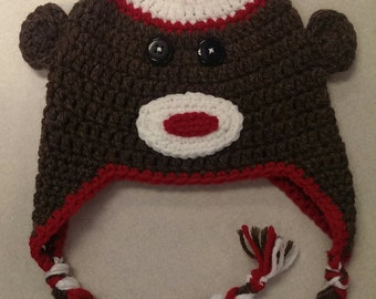 Crochet Sock Monkey Hat - Sock Monkey Hat - Crochet Baby Hat - Baby Hat