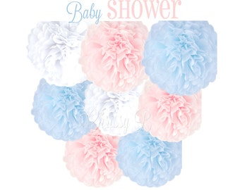 BABY SHOWER Tissue Paper Pom Pom Decorations - Set of 8 Tissue Poms - Pastel Blue, Pink and White - Baby Shower, Reveal Party, Boy or Girl