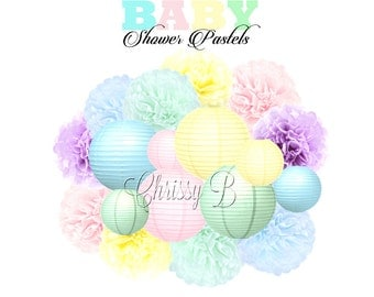BABY SHOWER PASTELS Deluxe Party Decorations - Paper Lantern & Tissue Pom Kit - Pink, blue, Lavender, Mint, Yellow - Baby Shower