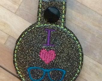 I Love nerds glasses key fob