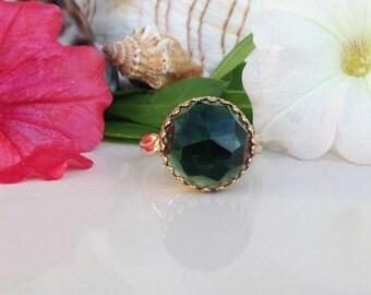 Green Tourmaline Ring - Round Crown Ring - Gold Ring - Green Gemstone Ring - Rose Cut Green Tourmaline - Engagement Ring