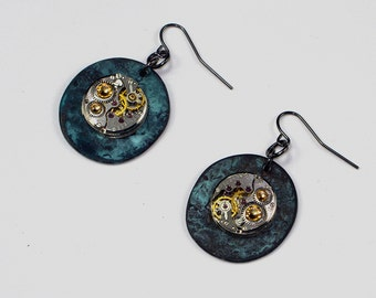 Steampunk Earrings Watch Movement Swarovski Crystals Excellent Goth