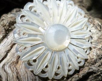 Vintage Mother of Pearl Pin Brooch Flower