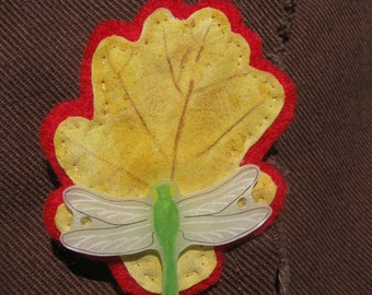 Leaf and dragonfly brooch