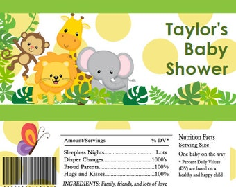 Safari Animals Baby Shower Candy Bar Wrappers INSTANT DOWNLOAD Editable