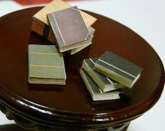 1:12 Miniature Books Set of 3 Bound Library Mini Store Leather-Look Hardcover Paperback Dollhouse 1/12 Scale Victorian Spell Study School