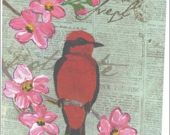 Vermillion Flycatcher with glitter