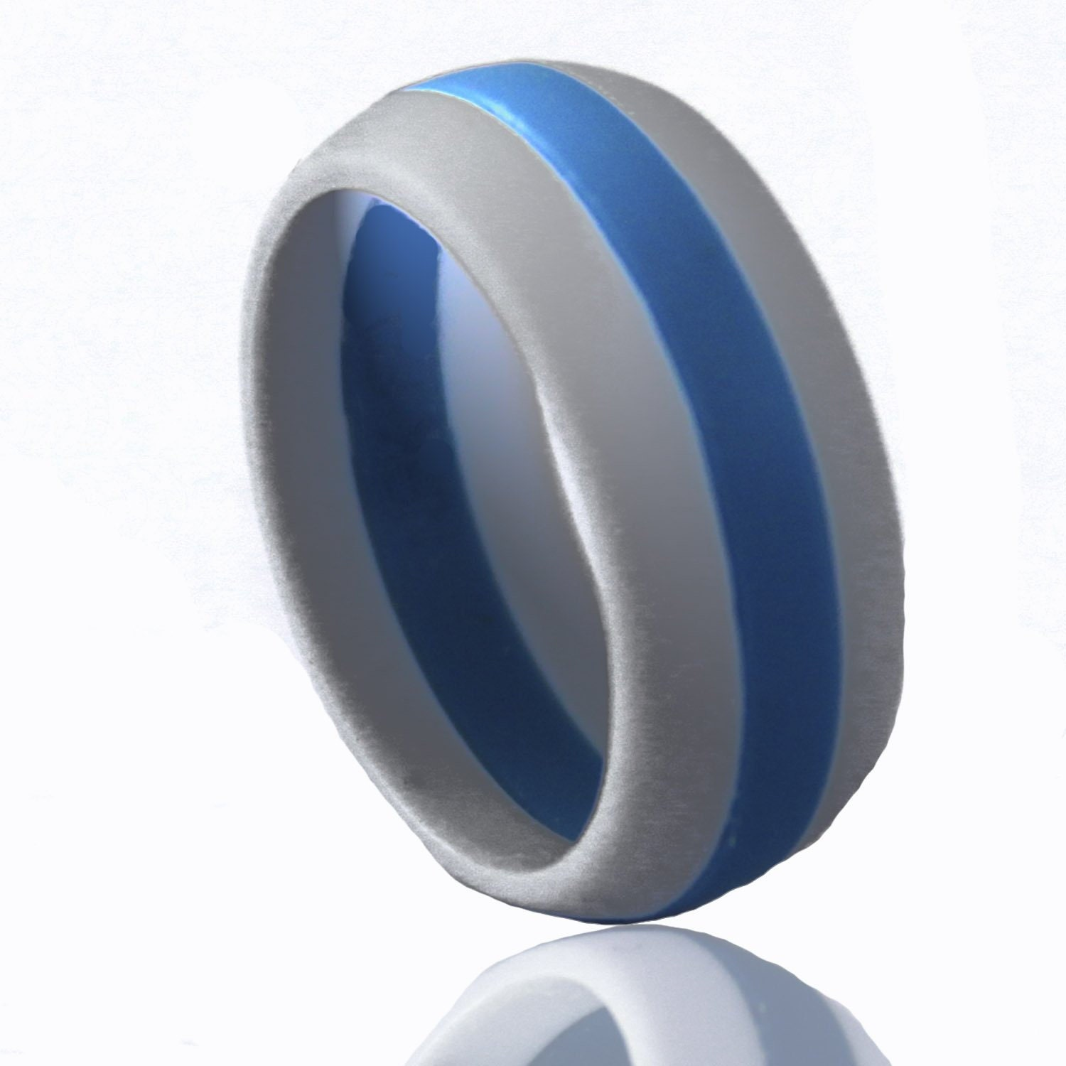 Men S Silicone Wedding Ring Grey And Blue Striped By Drewsports