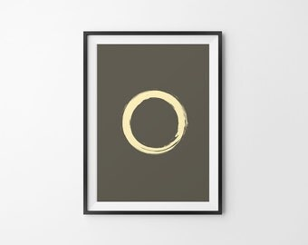 Zen Art, Gold Zen Art, Zen Decor, Zen Wall Art, Zen Circle, Golden Zen Circle, Zen Brush Stroke, Zen Wall Decor