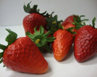 Artificial Fruit. Strawberry Kitchen Realistic Food Fake Display Home Decor. Bag of 24 Pieces.