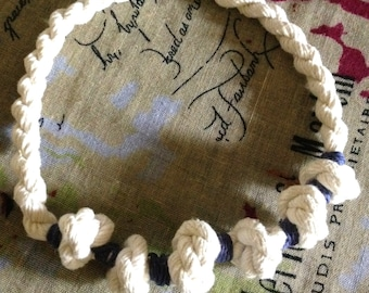Necklace White and Navy Blue Color - Organic Cotton Thread