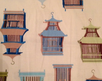 "wooster and prince ""Good Life Collection"" for Robert Kaufman 100% organic cotton fabric Chinoiserie Birdcages"