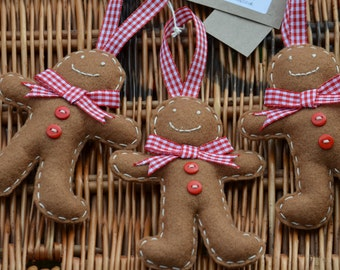 Set of 3 Gingham Gingerbread men Christmas tree decorations