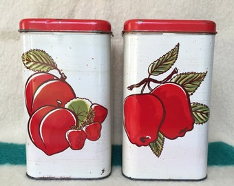 Decoware Apple Vintage Storage Tins Containers -Set of Two