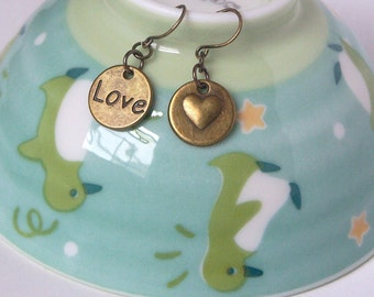 Antiqued Brass Heart and Love Earrings, Antiqued Brass Ear Wire