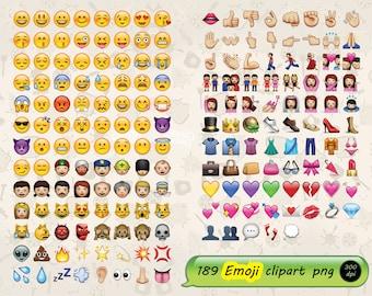 189 Emoji clipart - instant download digital file - PNG