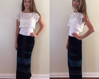 1980s, Velvet and lace skirt, Maxi skirt, Long skirt, Vintage skirt, Fun skirt