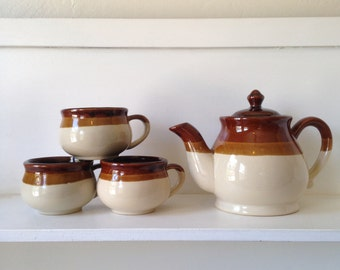 Vintage Ceramic Tea Set - Vintage Kitchen, Tea Pot, Tea Cups, Gift for Tea Lover
