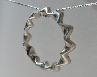 Sterling Circle of Waves Pendant
