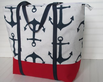 Weekender Bag Nautical Anchors Tote with Pockets Travel Bag OVERSIZED Tote Bag Overnight Bag Vacation Bag
