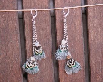 Aqua, Blue & Gray Feather Drop Earrings, double chain