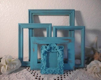 Turquoise Picture Frame Set Rustic Shabby Chic Distressed Photo Collection Beach Cottage Coastal Seaside Tropical Island Nautical Home Decor