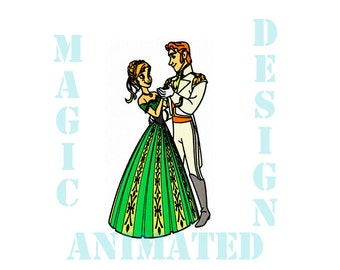 Anna and Hans Frozen Machine Embroidery Design in 3 sizes ---Instant download---