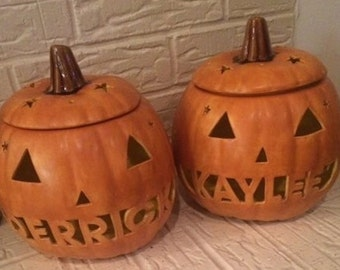Personalized Ceramic Lighted Pumpkin