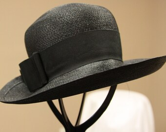 Ferncroft Straw Hat - vintage women's hat -Black Straw Hat - 1960s