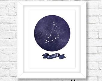 Capricorn Constellation Art Print, Instant Download, Printable Wall Art, Wall Decor, Zodiac Art, Horoscope Art Print, Capricorn Wall Art