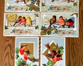 Four Vintage New Years Christmas Bird Postcards