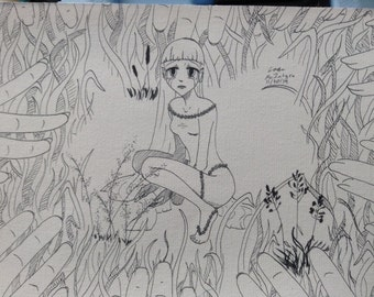 "cute ""thumbelina like"" girl print of original drawing"